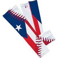 Puerto Rico Flag Baseball Lace Arm Sleeve (Pair)