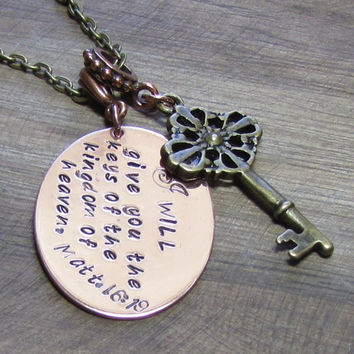 """Key to Heaven"" Handstamped Necklace Scripture, Copper"