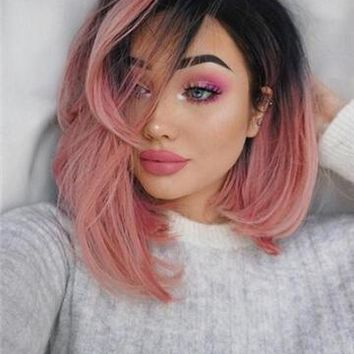 Twisted Berry-Straight Warm Pink Bob Synthetic Lace Front Wig