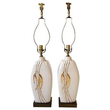 Pre-owned Vintage Faux Bamboo Table Lamps - A Pair