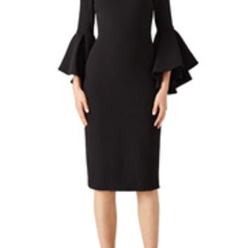 Badgley Mischka Black Bell Sleeve Sheath