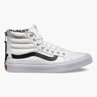 Vans Leather Sk8-Hi Slim Zip Womens Shoes True White/Snow Leopard  In Sizes