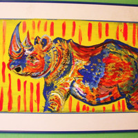 Wall Decoration - Original Rhino Painting, Colorful Home Decor
