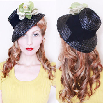RESERVED 4 Ida /1930s Hat / VINTAGE / 30s /Tilt Hat / Navy blue / Green Flower
