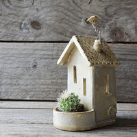Tealight holder and planter House- MADE TO ORDER - Stoneware