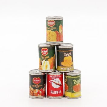 Odoria 1:12 Miniature Food 6PCS Fruit And Pilchard Cans Dollhouse Kitchen Accessories