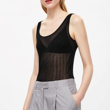 Sheer silk vest top - Black - Tops - COS US