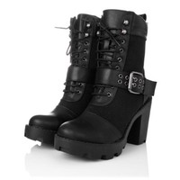 Spy Love Buy EARTH Block Heel Buckle Lace Up Chunky Biker Ankle Boots