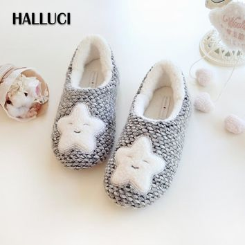halluci simple cute sea stars home flats shoes women japanese kawaii polar fleece keep  number 1