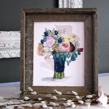 Wedding Bouquet Illustration, Bridal, Drawing, Sketch, Watercolor, Spring, Violet, Plum, Navy, Pink, Wall Art, Home Decor, Blossoms, Flowers