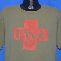 90s Live Band Grunge Alt Rock Olive Green t-shirt Extra-Large