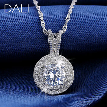 Silver  Pendant Necklace Jewelry Women Present Shinning  Design Platinum Plated