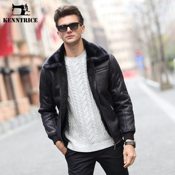 Streetwear Winter Pilot Leather Jackets Men Faux Suede Thick Leather Coats Black Windbreaker Motorcycle Jacket