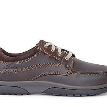 Clarks Mens Casual Shoes Randle Walk Dark brown Leather 26109872