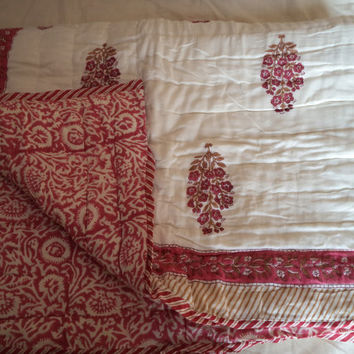 Beautiful Kantha Gudari Indian quilt with block print handmade