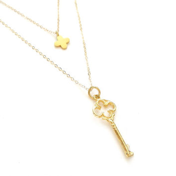 Gold Key Necklace, Gold Clover Necklace, Vermeil Key, Vermeil Clover, 14k Gold Filled Chain, Gold Layer Necklace, Dainty Gold Necklace