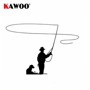 KAWOO 2Pcs/Lot Fisherman Fishing Decal Car Truck Bumper Window Decoration Sticker Waterproof Auto Stickers Car Styling 13*10CM