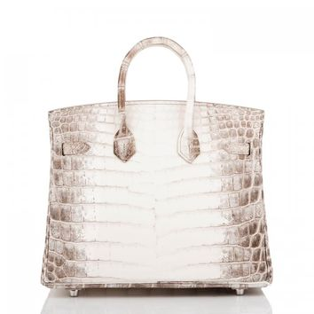 Hermes Birkin Bag 25cm White Matte Niloticus Himalayan Crocodile Palladium Hardware | World's Best