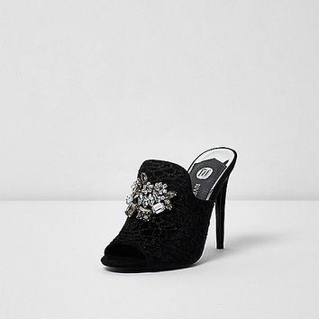 Black jewel embellished mules - Sandals - Shoes & Boots - women