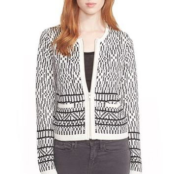 Women's Joie 'Jacolyn' Linen & Cotton Zip Cardigan,