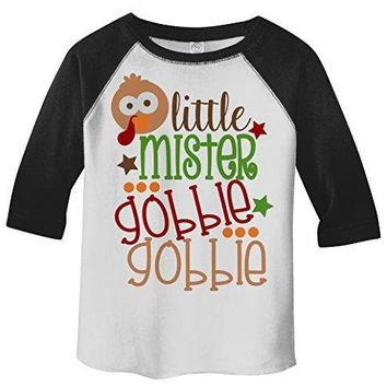 Shirts By Sarah Little Boy's Little Mister Gobble Gobble Thanksgiving Toddler Raglan