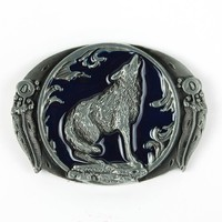 Mens Cool Fashion Belt Buckles Western Wolf Oval Buckles High Quality