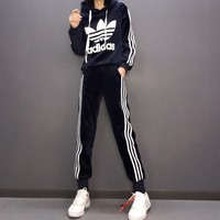 """ Adidas"" Women Casual Fashion Velvet Plush Letter Long Sleeve Hoodie Trousers Set Two-Piece Sportswear"