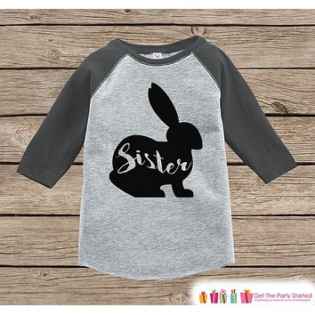Kids Spring Outfit - Sister Bunny Shirt or Onepiece - Bunny Silhouette Family Shirts - Baby, Toddler - Girls Easter Sibling Shirts - Grey