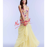 Floral Embroidered Drop Waist Yellow Dress