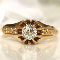 Exquisite Antique Engagement Ring Belcher Buttercup Setting 0.33ct Old European Cut Diamond 14K Gold Antique Wedding Ring Size 6!