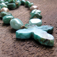Cross Necklace Green Chrysoprase Sunstone Amethyst Hand Knotted Bohemian Jewelry