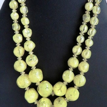 Hattie Carnegie Necklace, Vintage Yellow Plastic Beaded Necklace, Two Strand Necklace