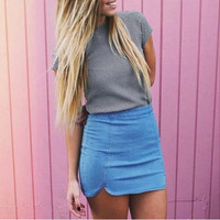 Curved Slim Denim Skirt
