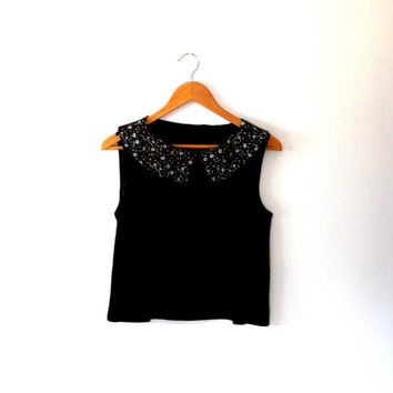 Floral / black / chiffon / collar / re-worked / vintage / 90s / blouse top