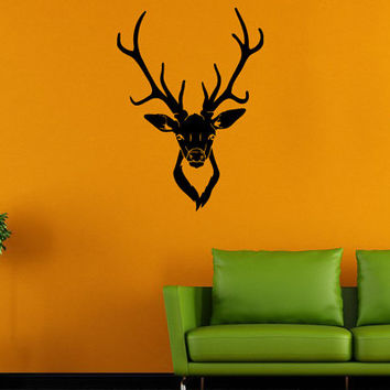 Wall Decal Vinyl Sticker Room Tattoo Fun Decor Deer Hunting Forest Head 1372
