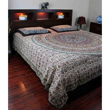 Cotton Reversible Duvet Cover Mandala Kalamkari Paisley Twin Full Queen King
