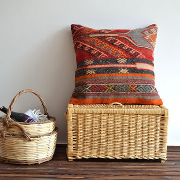 Traditional Handwoven Vintage Turkish Kilim Pillow Cover - 20x20 inch - Ethnic Pillow Cover, Tribal Pillow Cover, Floor Pillow
