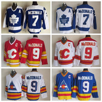 Throwback #7 Lanny McDonald Jersey Toronto Maple Leafs Hockey Jersey Colorado Rockies 1980 CCM Vintage Calgary Flames Jersey Stitch C Patch