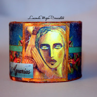 Aquarius cuff bracelet, water bearer, turquoise blue, blue green, 11th sign of zodiac, exceptional