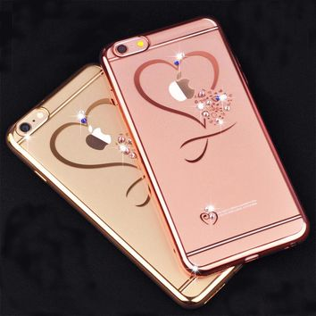 Kerzzil Fashion Love Diamond Electroplating Soft Phone Case For iPhone 7 6 6S Plus Silicone Phone Cover For iPhone 6 7 6S Coque