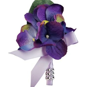 Hydrangea Boutonniere-Purple with Lavender ribbon(Pin included)