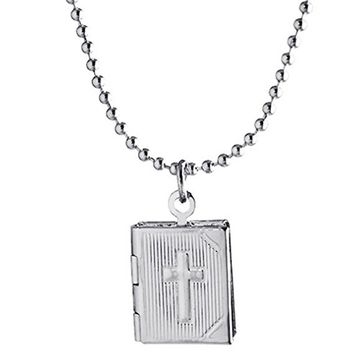 Memory Locket Square Necklace for Women Photo Mom Grandma Child Picture Charm Silver-tone Engraved Cross