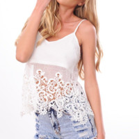 Hollow Out Lace  V-Neck Cami