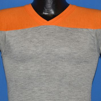 80s Jersey Style Orange And Gray V-Neck t-shirt Small