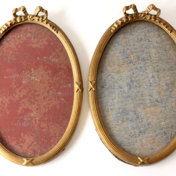 Pair of Large Antique French Gilt Frames - Gold Bow Frame - Plaster on Wood Gesso