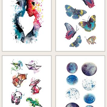 Planet & Butterfly Pattern Tattoo Sticker 4sheets