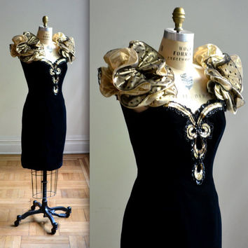 Black and Gold 80s Prom Dress with Gold Puff Sleeves size M// Vintage 80s Metallic Dress