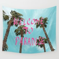 Welcome To Paradise - Pink Wall Tapestry by Lisa Argyropoulos