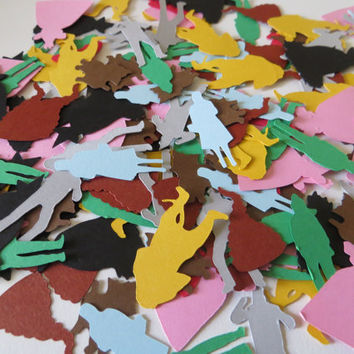 Wizard of Oz Confetti - Set of 180 - Handmade - Dorothy - Toto - Scarecrow - Tinman - Lion - Wicked Witch - Toto - Ruby Slipper - Tornado