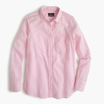 J.Crew Womens Petite Boy Shirt In Pink Skinny Stripe